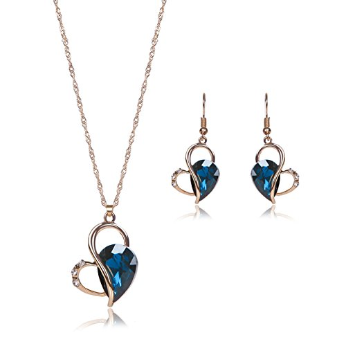 OUFO Necklace Earring Ring Fashion Jewelry Sets Boxed Lake Blue Stone (2239)