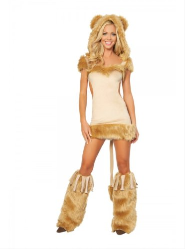 1pc Courageous Lioness Includes Dress with Fur Trim & Attached Hood & Tail