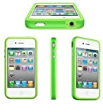 Demarkt New Silicone Stylish Bumper Case Cover With Metal Buttons Fits For Apple iPhone 4 4S 4G-Green