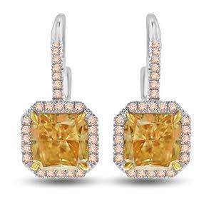 6.83 Ct Fancy Yellow Diamond Earrings in 18k White & Yellow Gold - GIA