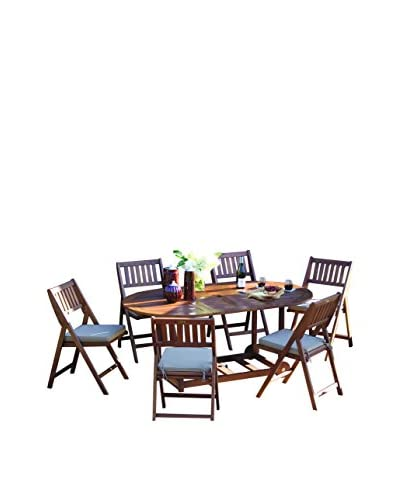 Outdoor Interiors Eucalyptus 7-Piece Fold & Store Set, Brown