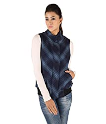 Owncraft Women's Woolen Jacket (Own_268_Blue_Small)
