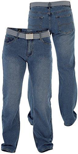 Duke London - Herren Denim Jeans mit geradem Bein und Gürtel, W30-W40 - 150211 Mittlere Waschung, 38W x 30L
