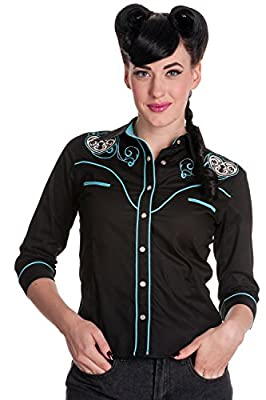 HELL BUNNY Women's Locked Heart Rockabilly Shirt