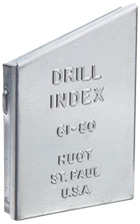 Huot Drill Bit Index for Wire Gauge Sizes #61 to #80