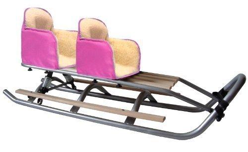 SD-07 DUO Set Doppelschlitten mit Federung ROSA Geschwisterschlitten Schlitten 2 x Fußablagen 2 x Sitz * 2 x Rückenlehne * Band günstig online kaufen