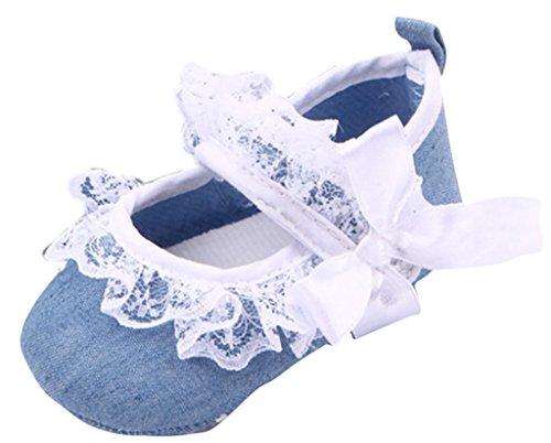 Y-BOA Chaussure Baptême Bébé Fille Princesse Dentelle Premier Pas Jean Nœud Mignon