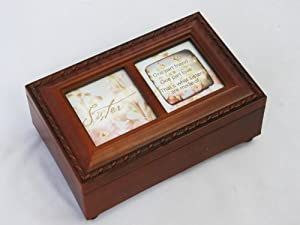 Sister Petite Wood Grain Sankyo Music Box - Plays That's What Friends Are For
