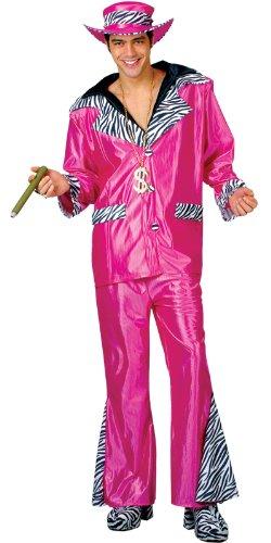 Imagen 2 de Big Daddy Pimp Costume Pink Mens Fancy Dress Small (disfraz)