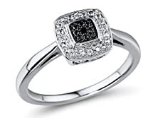 buy Petite Diamond Engagement Ring Black And White Diamonds In Sterling Sliver