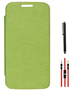 DMG Flip Book Diary Cover Hard Back Case for Motorola Moto G XT1032 (Lime Green) + AUX Cable + Stylus