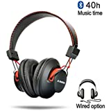 Avantree Audition Over-Ear Wireless Bluetooth 4.0  Noise Isolation Lightweight NFC Headphones, Black/Red