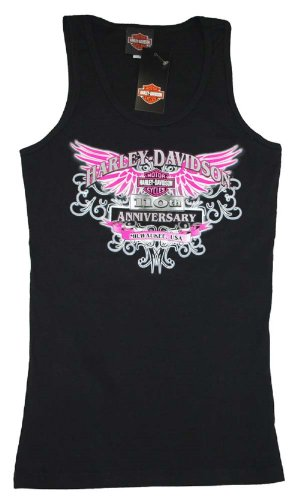 House of Harley-Davidson® Women's Harley-Davidson® Pink Winged Black 100th Anniversary Tank T-Shirt. House of Harley-Davidson® Graphics on Back. Black. Tee. 302962690