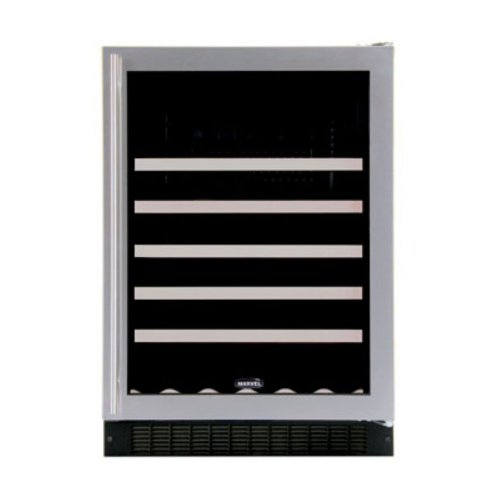 Luxury 45 Bottle Single Zone Build-In Wine Refrigerator Finish: Stainless Steel, Hinge Location: Right