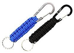 The Friendly Swede Paracord Keychains with Carabiners 2 Pack Black + Sky Blue