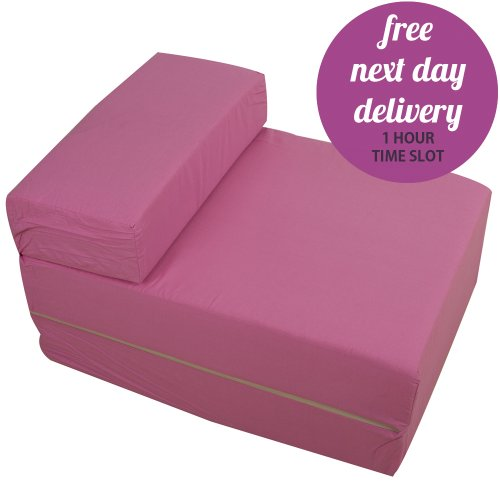 Pastel Pink Foam Fold Out Sleep Over Guest Single Z Futon Sofa Bed