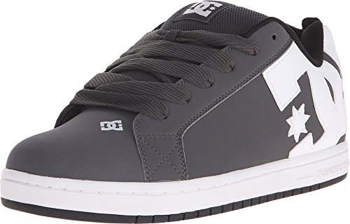 DC Mens Court Graffik Shoes, Grey/White, 8.5D