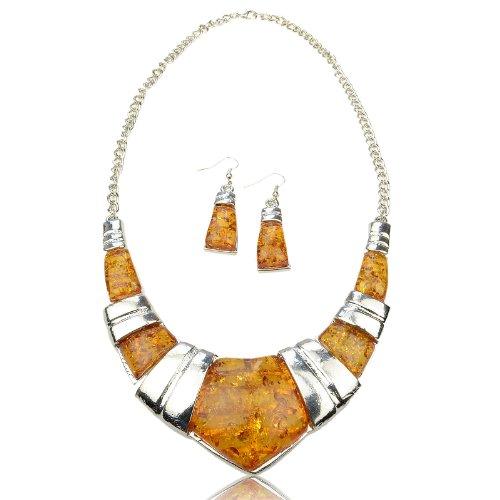 Faux Amber Gem Vintage Earrings Baltic Silver Huge Necklace Pendant Set A1332K