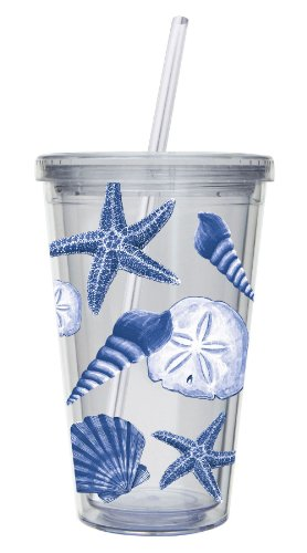 Cypress Home 17-Ounce Insulated Cup With Lid And Straw, Coastal Shells front-70901