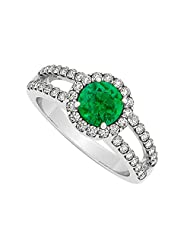 Emerald And Cubic Zirconia Split Shank Halo Engagement Ring In 925 Sterling Silver 1.50 CT TGW
