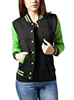 Urban Classics Chaqueta Ladies 2-tone College Sweatjacket (Negro / Lima)