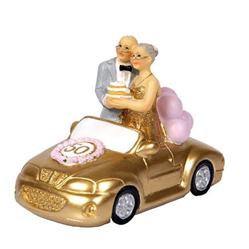50th Anniversary Gift Polyresin Statues - Wedding Car Elderly Couple Figurines Collectibles for Parents (Small/ Standing)