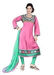 Kimisha Pink Semi Cotton Embroidered Anarkali Dress Material
