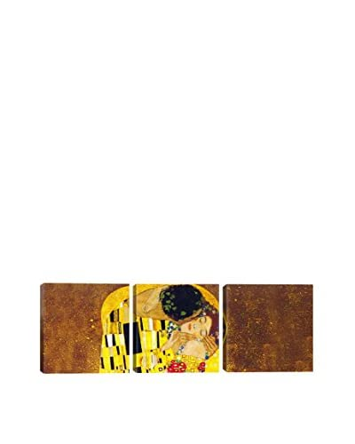 Gustav Klimt The Kiss (Panoramic) 3-Piece Canvas Print