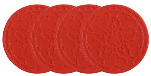 Le Creuset Silicone Set of 4 French Coasters, Cerise (Cherry Red) (Red Coasters compare prices)