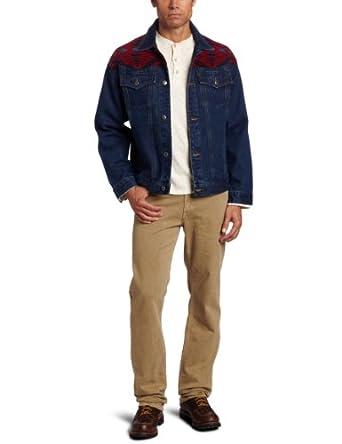 Pendleton Men's Denim Jacket With Red Diamond Desert Yoke, Red Mini Diamond Desert, Small