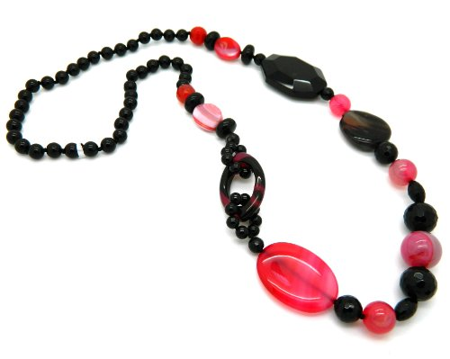 Black and Maroon Agate Bead Fashion Necklace