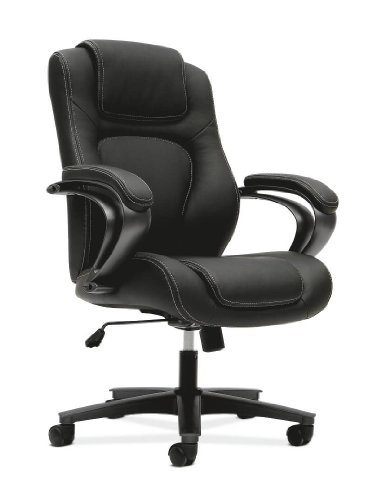 basyx by HON VL402 Managerial High-Back Chair with Loop Arms for Office or Computer Desk, Black