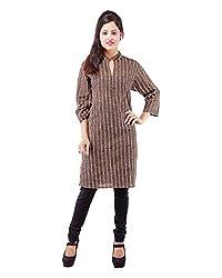 Albelishop Women's Cotton V-Neck Kurti (FI012_XL, Brown, XL)