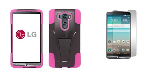 Lg G3 Vigor - Black & Hot Pink Dual Layer Impact Defender Shockproof Armor Kickstand Cover Case + Atom Led Keychain Light + Screen Protector Guard