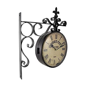 Double Sided Dodge City Station Hanging Wall Clock