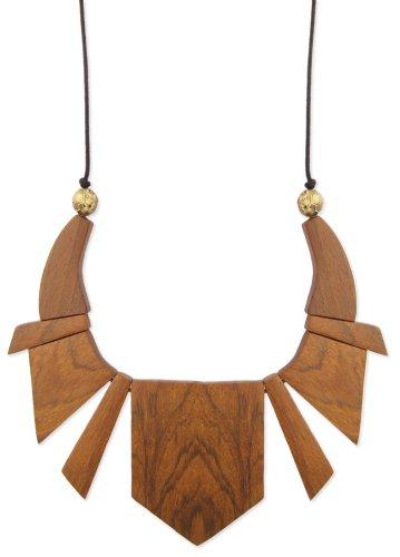 ZAD Geometric Wood Sectioned Bib Necklace 16-18