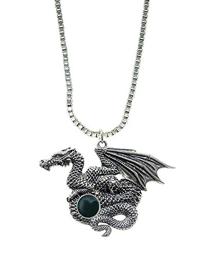 Dragon of Many Treasures in Sterling Silver with Bloodstone Made in America Other Gemstones Available