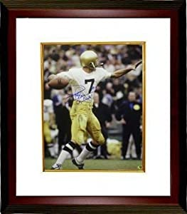 Joe Theismann signed Notre Dame Fighting Irish 16X20 Photo Go Irish Custom Framed