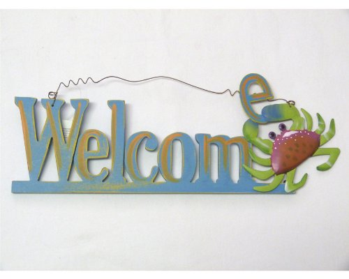 Welcome Sign with Wood Cut Out Letters with a Metal Crab - Wire Hanger - 14