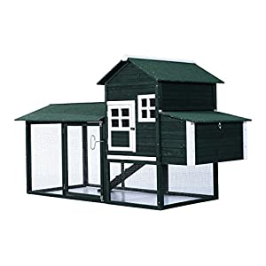 "PawHut 84"" Large Wood Chicken Coop Hen Pet Cage with Nesting Box and Run Green"