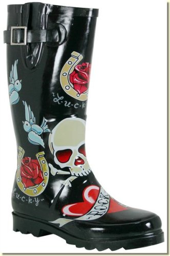 Buy Chooka – Women's Black Tattoo City Rain Boots