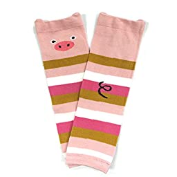 Bowbear Adorable Designs Baby Leg Warmers, Pig and Stripes