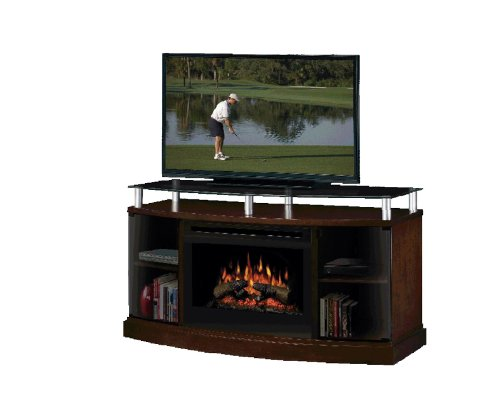 Dimplex Windham Flatpanel TV Stand and Electric Fireplace in Mocha - Logs picture B004CAK7O8.jpg
