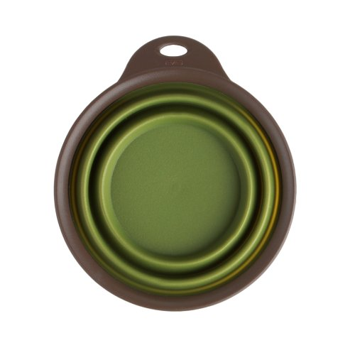 Dexas Popware For Pets Collapsible Travel Cup/Bowl, Small, Green back-417395