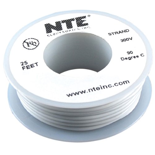 Nte Stranded 24 Awg Hook-Up Wire White 25 Ft.