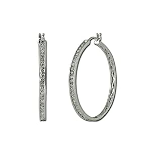 Diamond Hoop Earrings 1.00ct tw in 14K White Gold