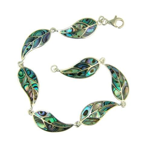 Silver Ladies' Abalone Leaf 20cm Bracelet