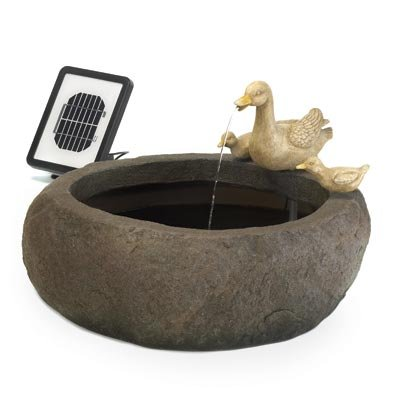 Duck Pond Faux Stone Outdoor Home Garden Solar Fountain