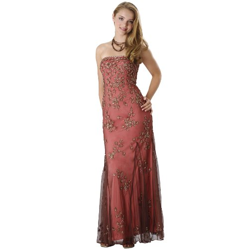 Strapless Beaded Evening Dress - Prom Dress, Party, Formal Gown by Sean Collection (50188) Brown