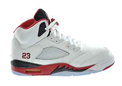 Buy Air Jordan 5 Retro Mens Basketball Shoes White Fire Red-Black by Jordan